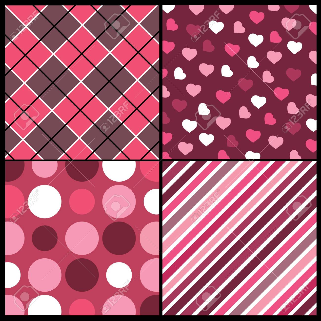 A set of 4 patterns for Valentines day Stock Vector - 10021598