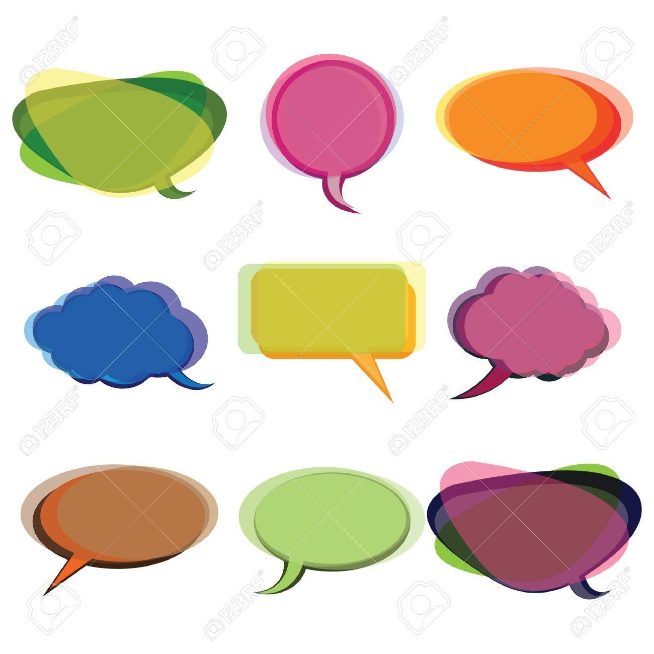 Collection of Colorful Speech And Thought Bubbles Background Stock Vector - 10023957
