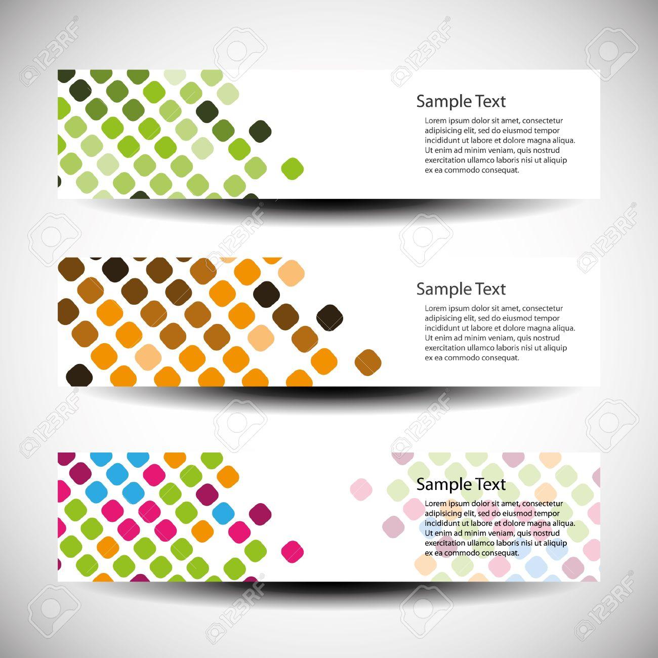 Colorful Set Of Tree Header Design Royalty Free Cliparts, Vectors ...