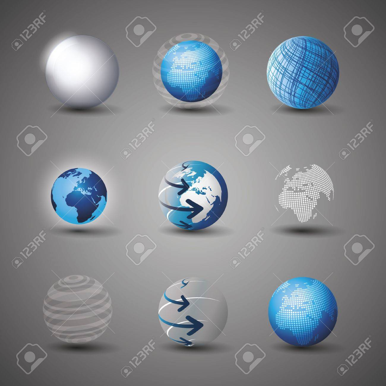 Collection Of Globe Designs Stock Vector - 10519912