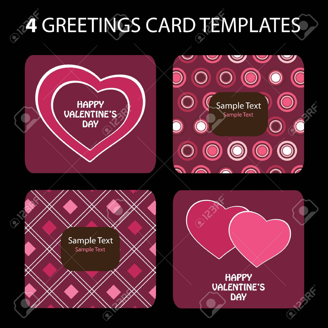 4 Greeting Cards Valentines Day Royalty Free Cliparts Vectors And