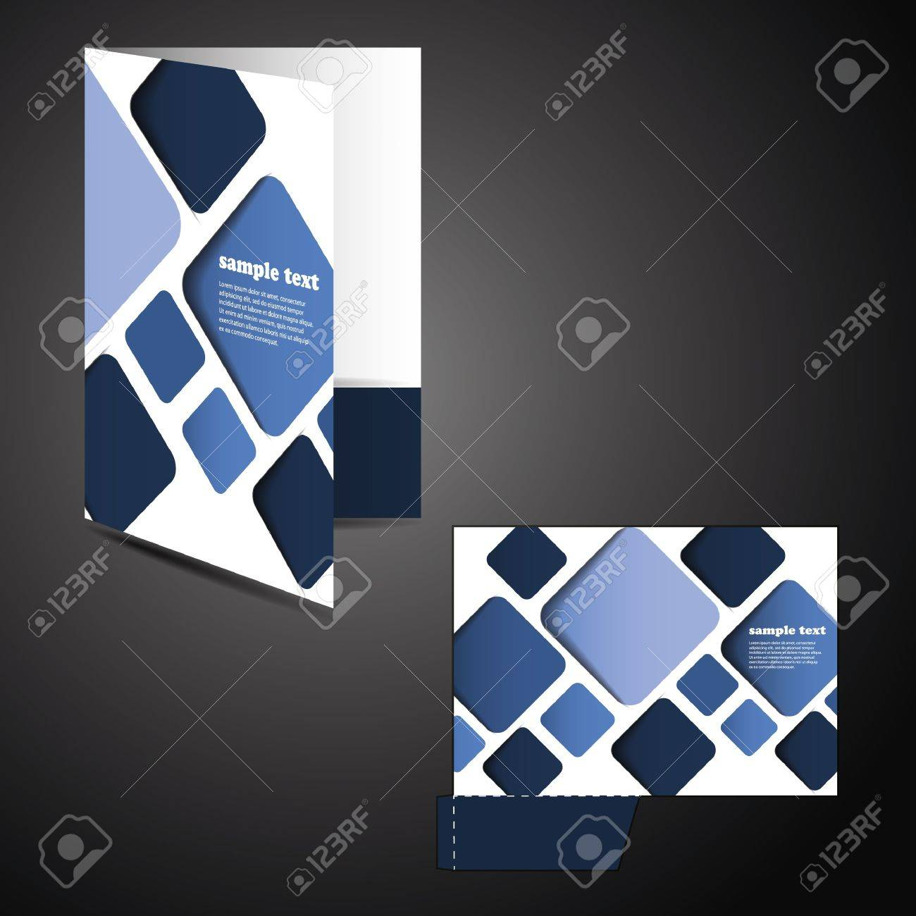 Corporate folder with die cut design Stock Vector - 12426779
