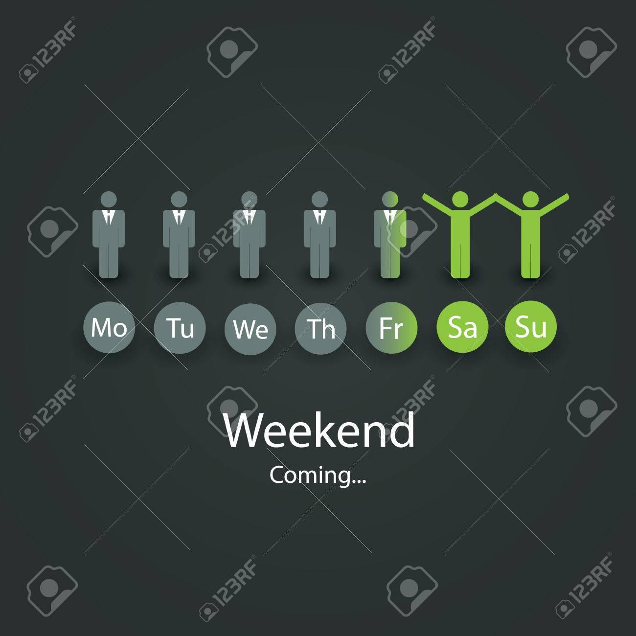 Weekends Coming Soon Illustration - 24247146