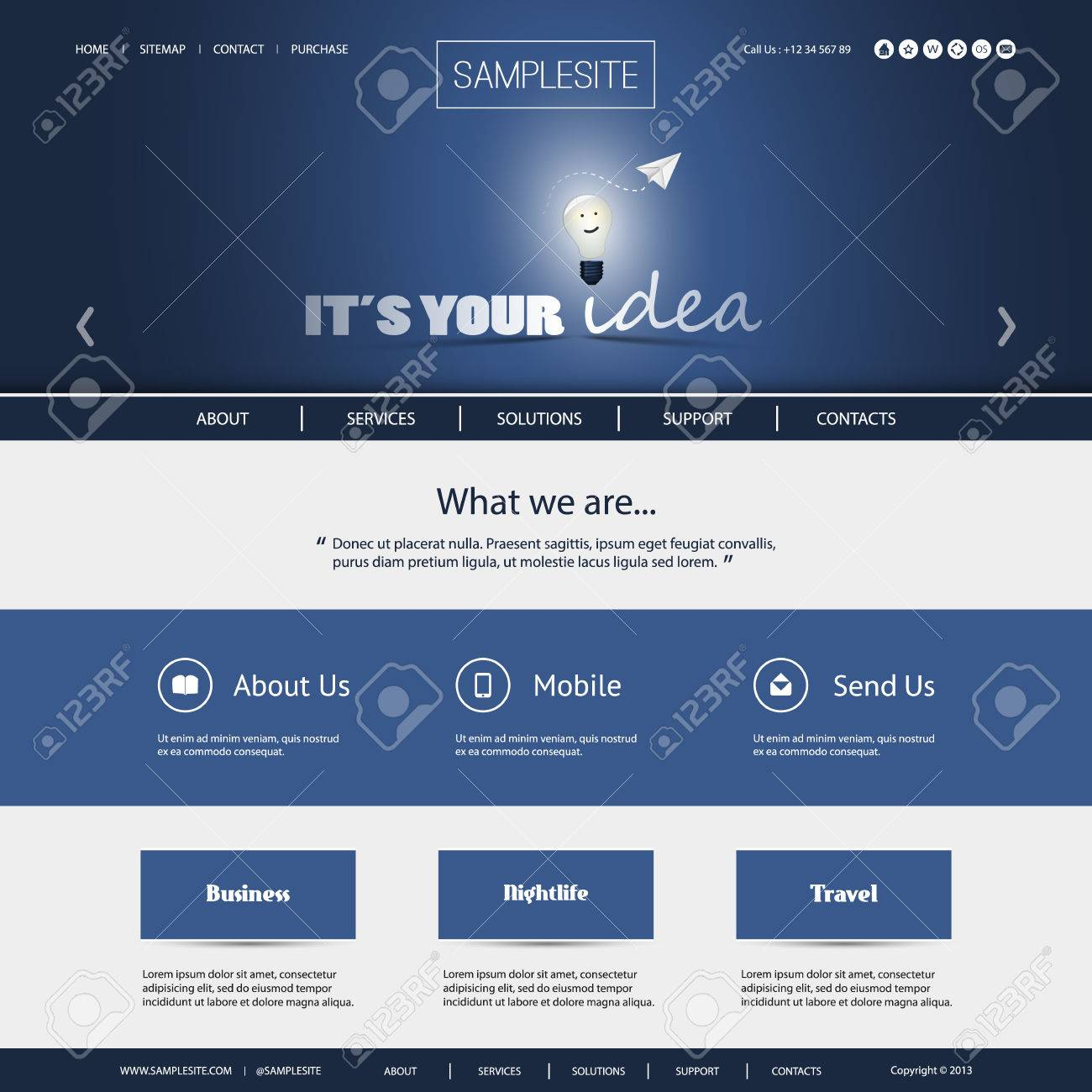 It s Your Idea - Business or Technology Website Template Stock Vector - 24905478