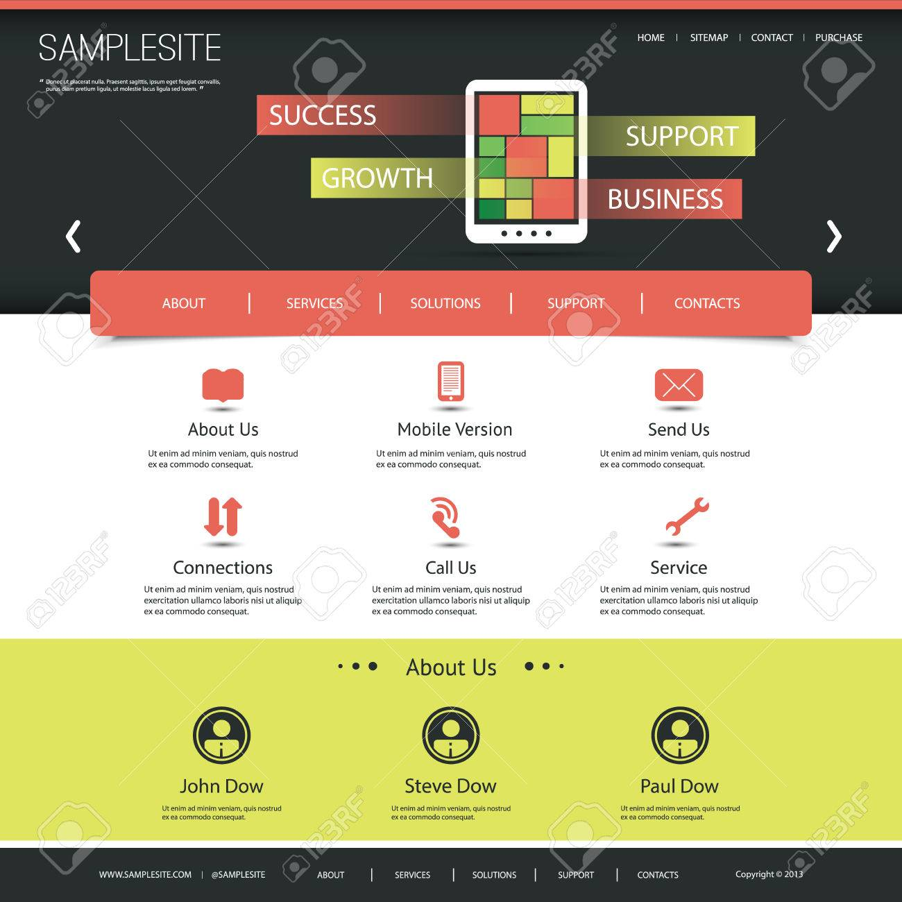 Website Template for Your Business or Blog Stock Vector - 24954774