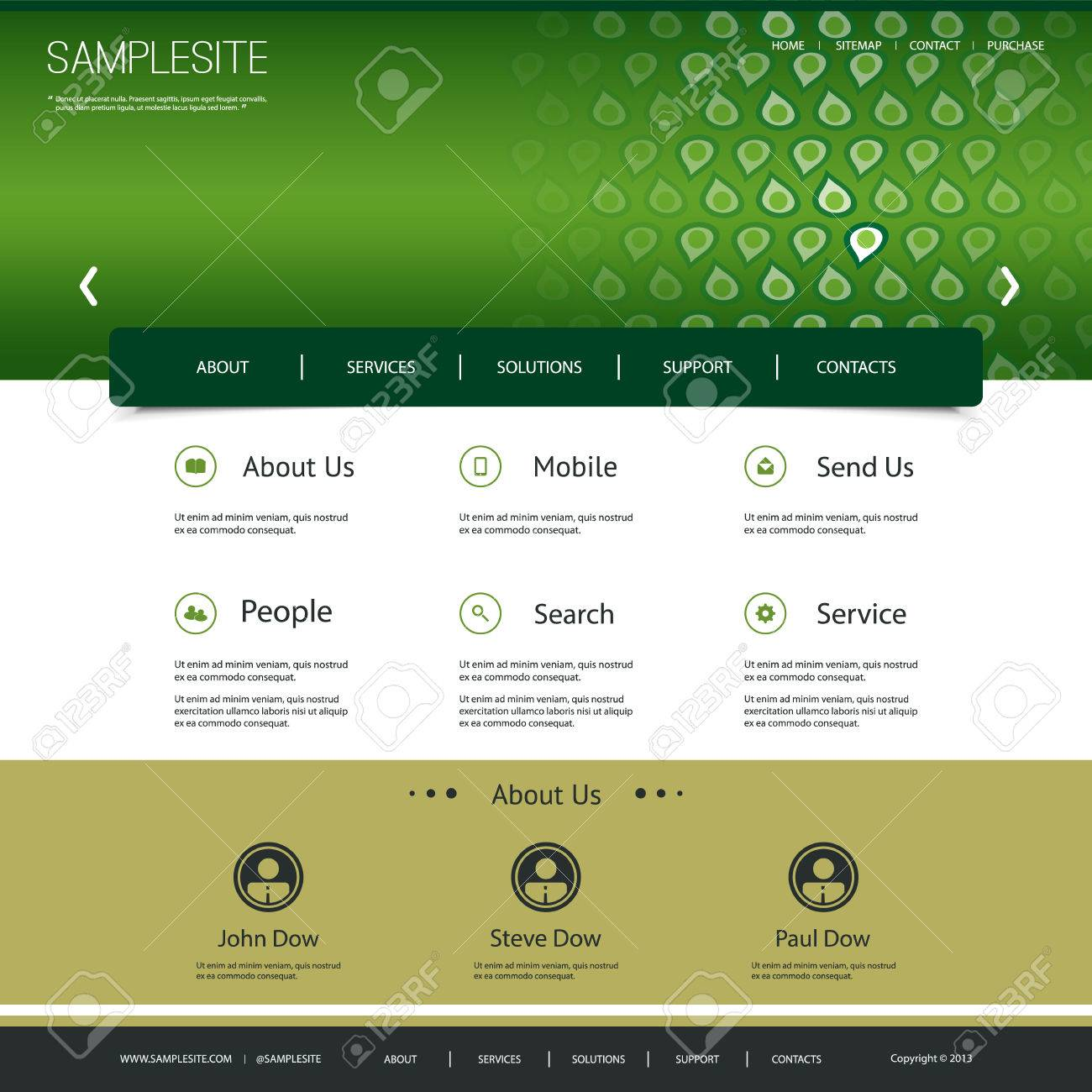 Website Template Design with Abstract Header Stock Vector - 25838966