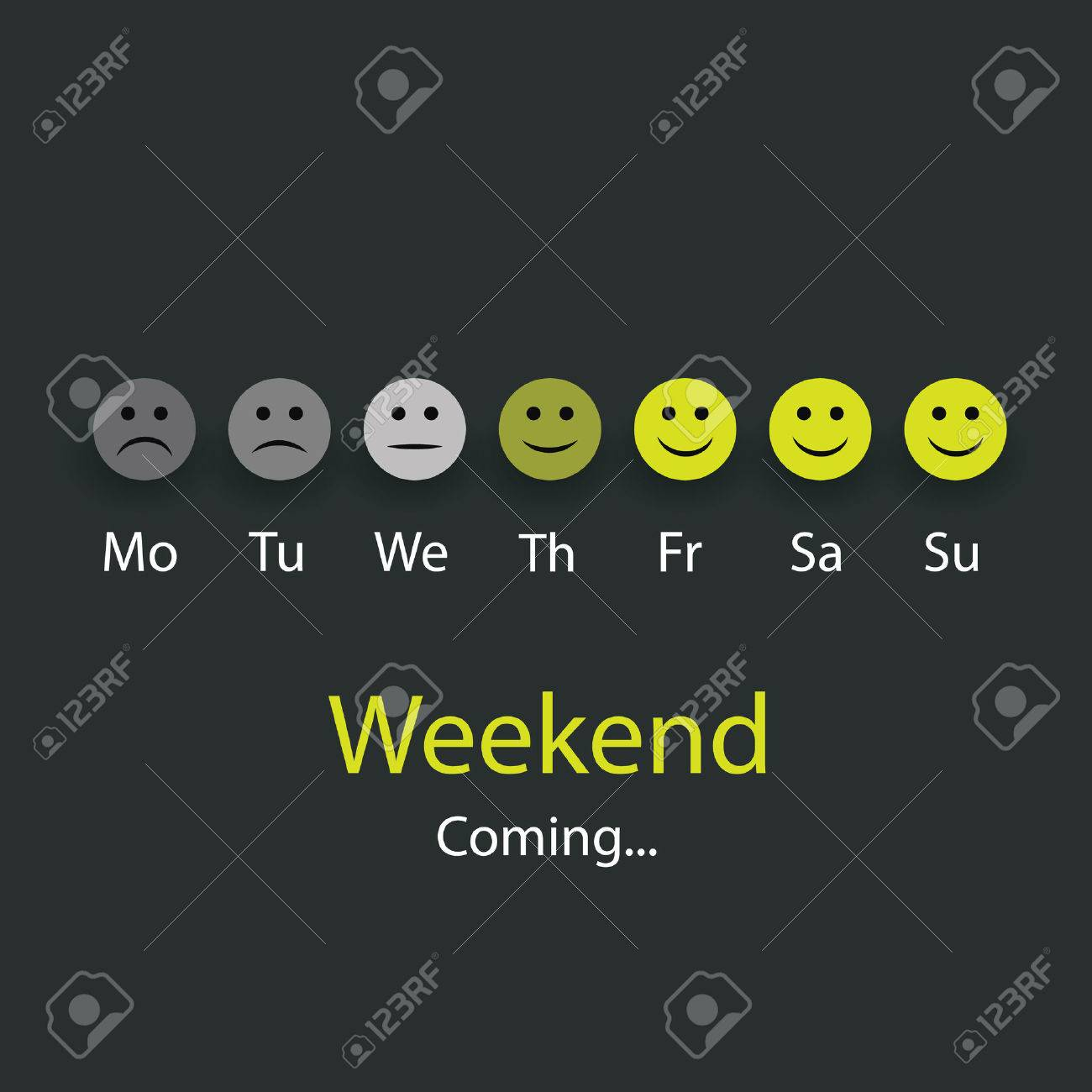 Weekends Coming - Design Concept with Smiling Faces - 25839175