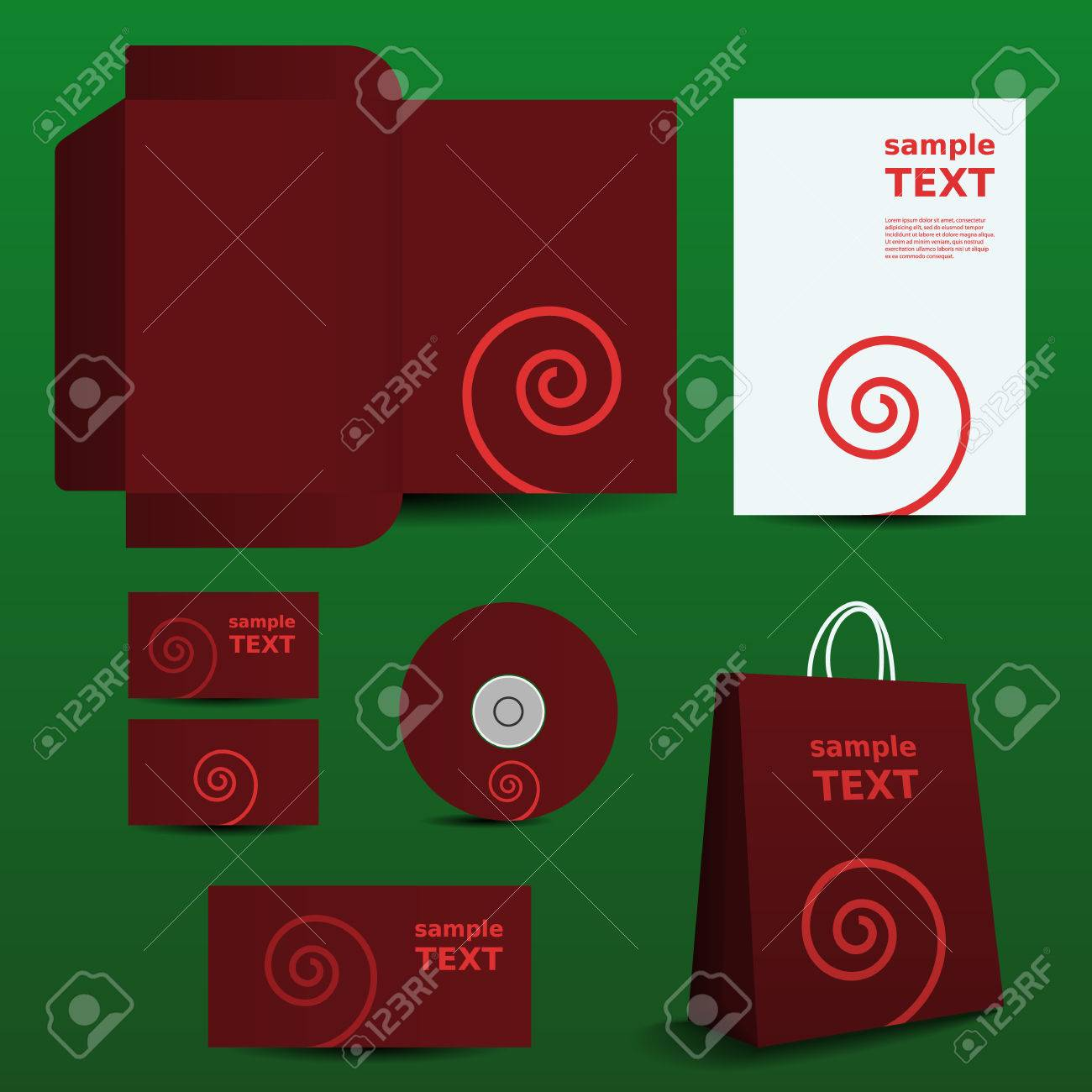 Stationery, Corporate Image Design with Twisted Pattern Stock Vector - 26146911