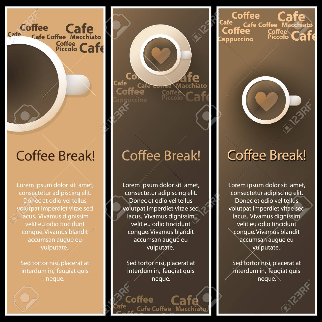 Set Of 3 Coffee Shop Banner Or Menu Template Designs Stock Vector