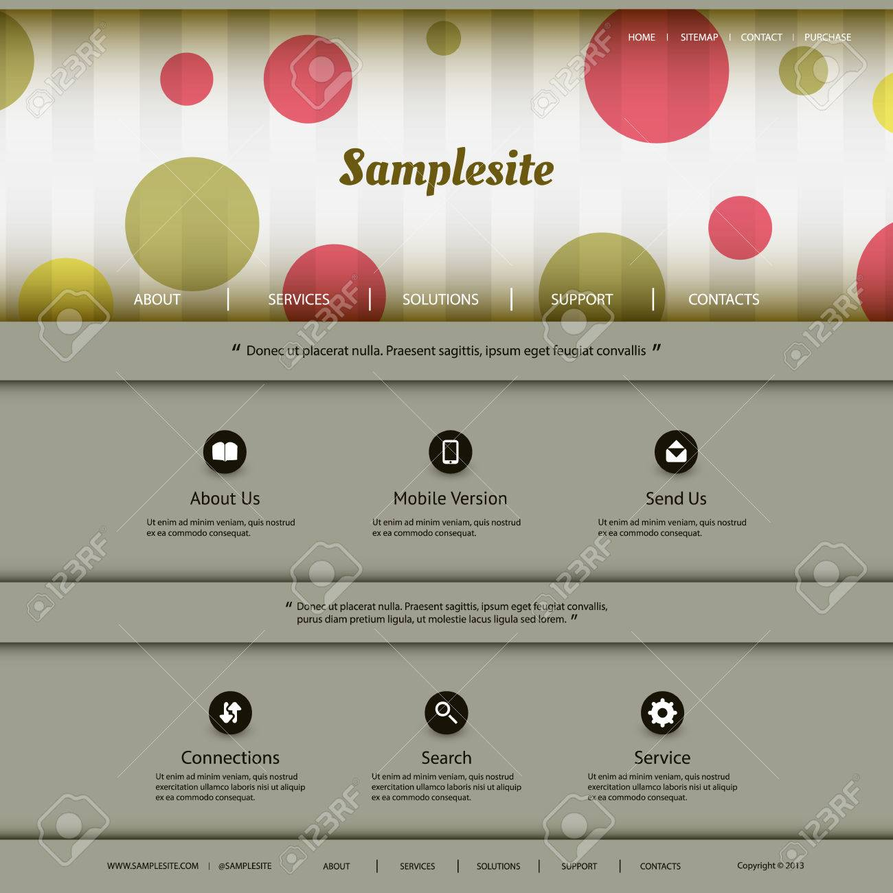 Website Template with Colorful Header Design Stock Vector - 27541434