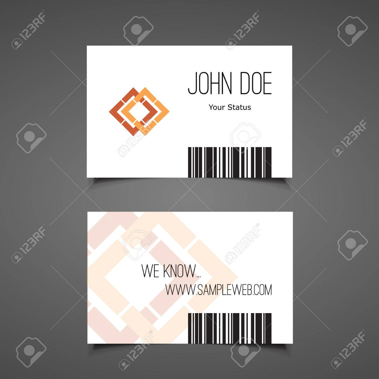 Business Or Gift Card Design With Barcode Royalty Free Cliparts ...
