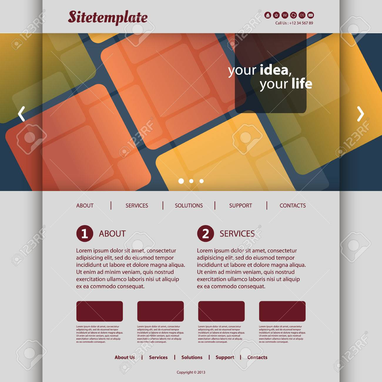Website Template with Abstract Patterned Design Stock Vector - 27662899