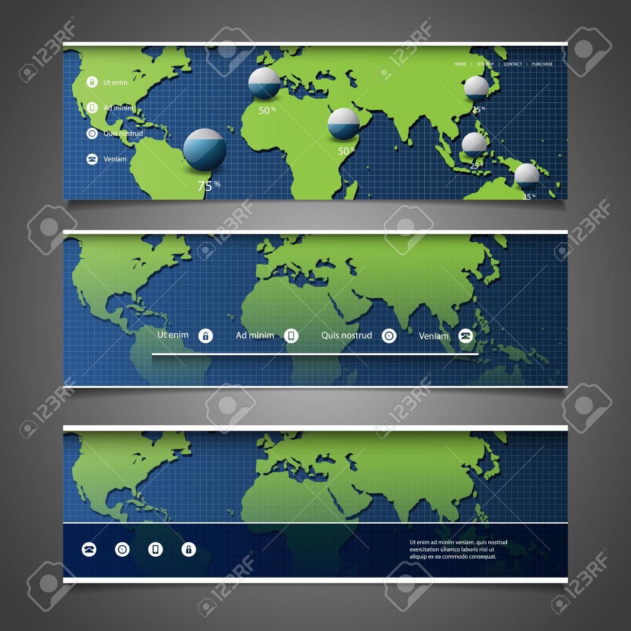 Web design elements header designs with world map royalty free vector web design elements header designs with world map gumiabroncs Images