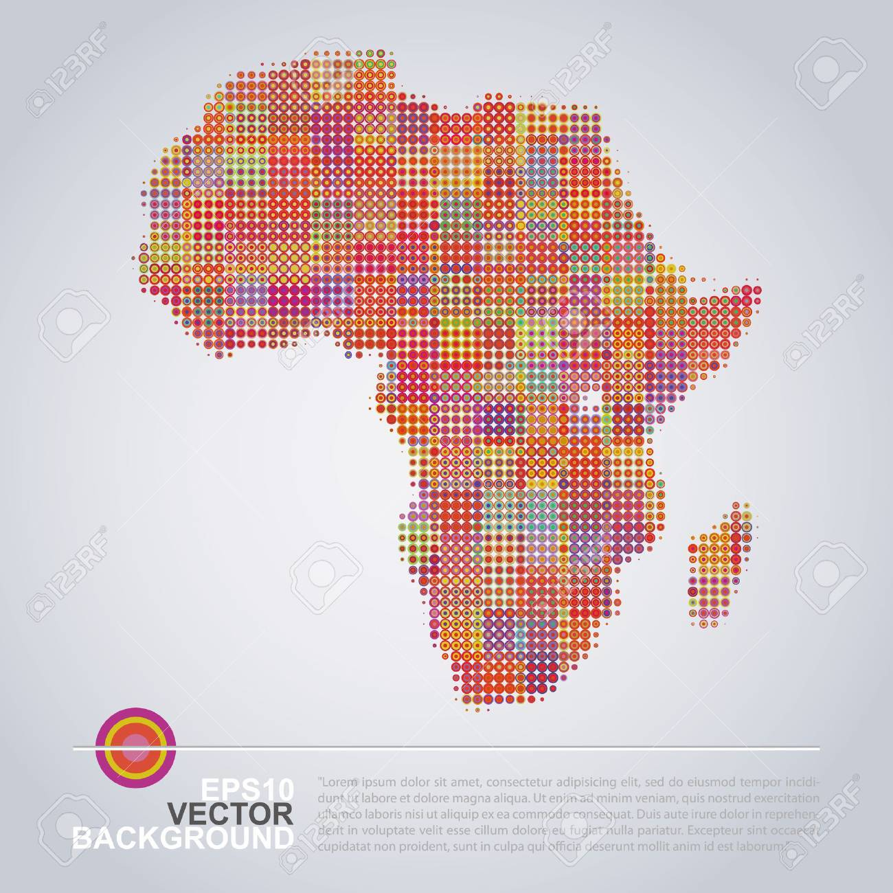 Colorful Map Of Africa.Dotted Map Design Colorful Map Of Africa