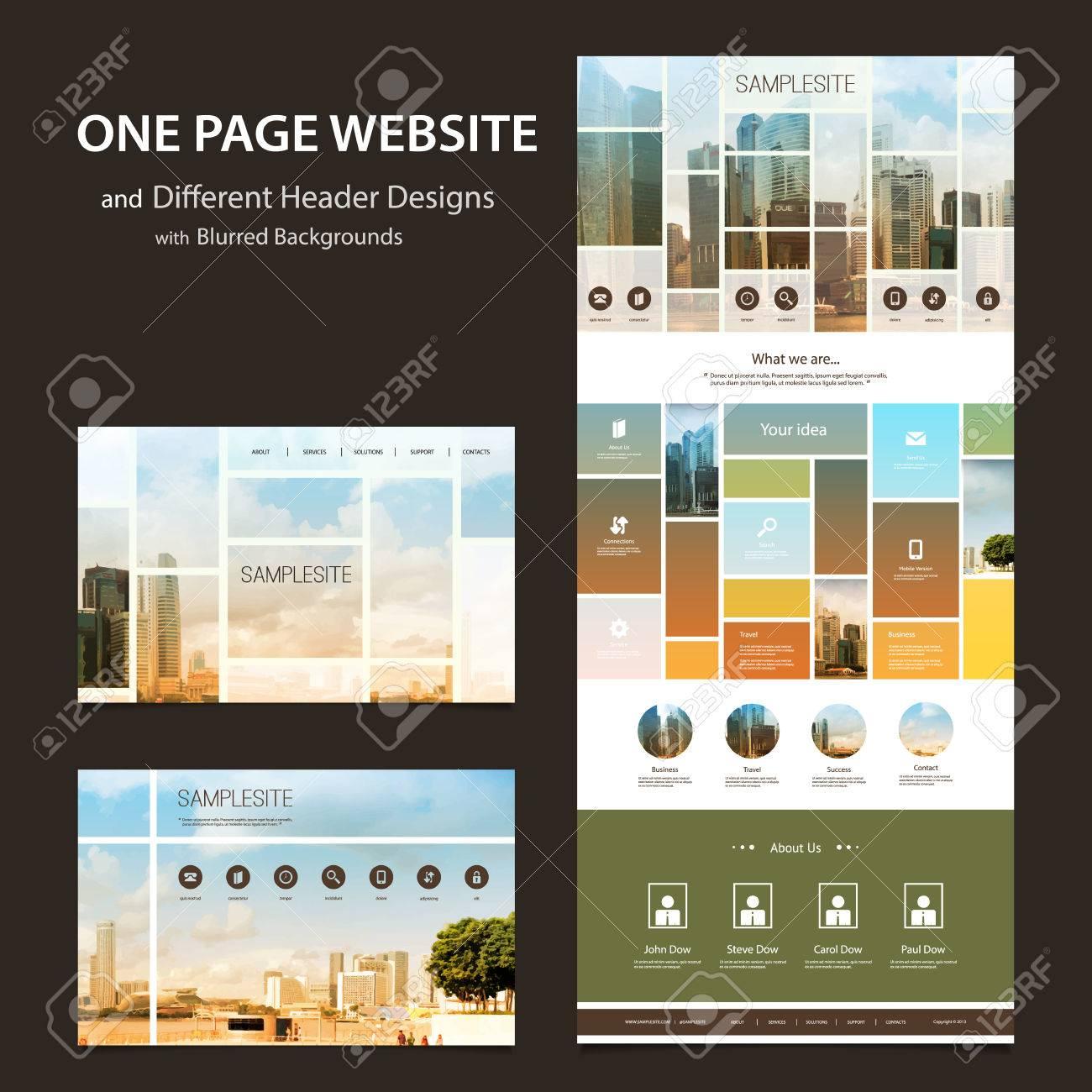 One Page Website-Vorlage Und Andere Kopf- Designs Mit Unscharfen ...