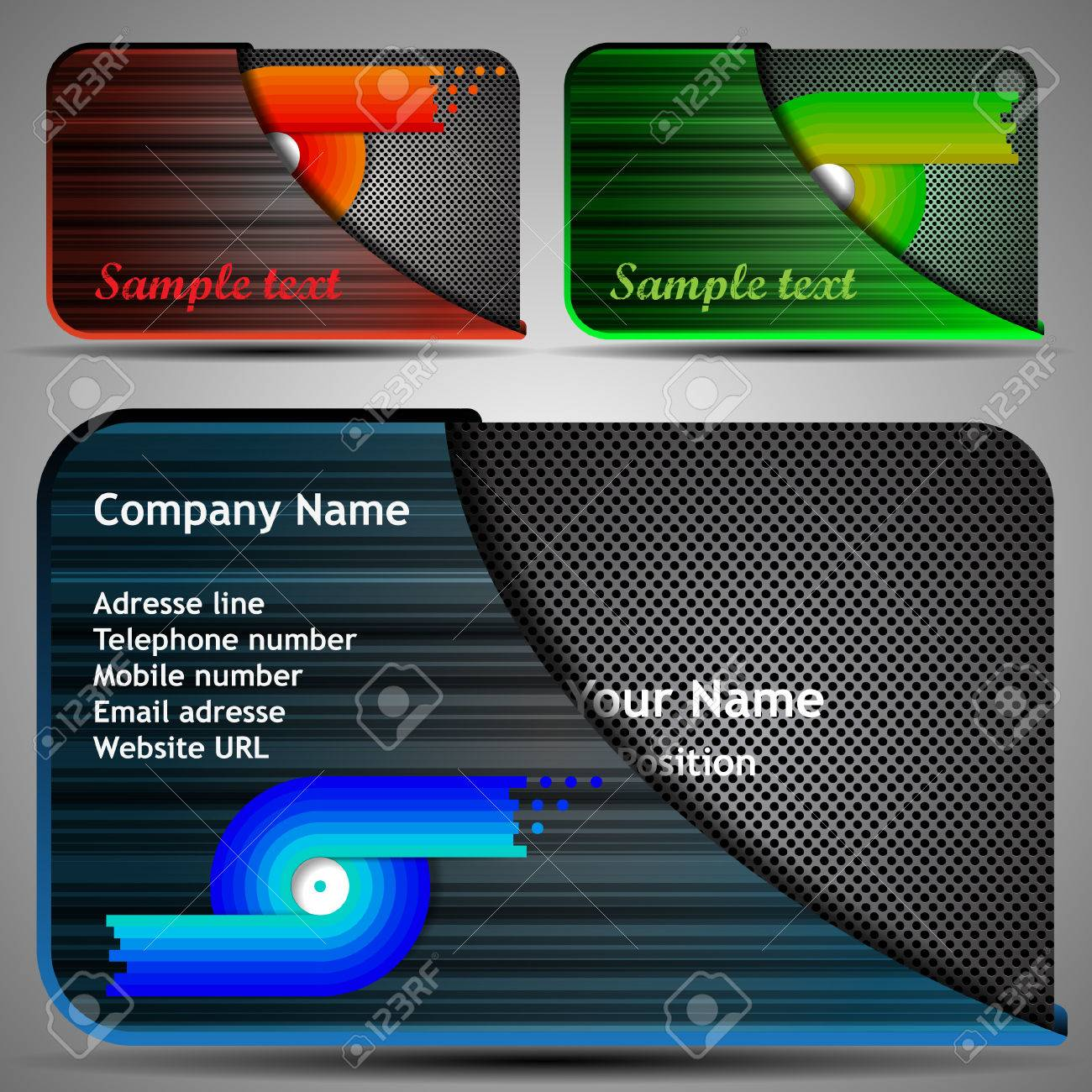 Colorful Futuristic Business Card Template Layout With Case
