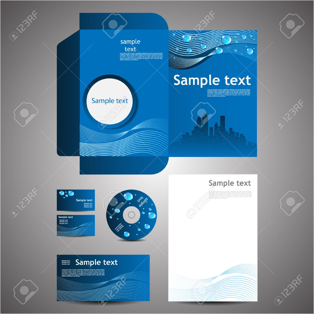 Eco Business Design Template Set Business Card Cd Note Paper ...