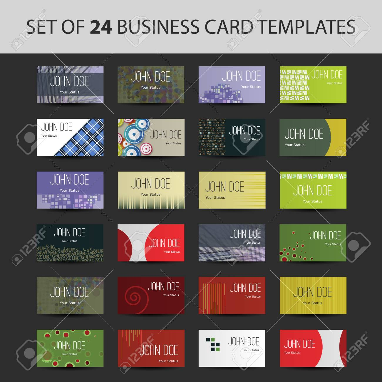Set Of 24 Business Card Templates - Colorful Backgrounds And ...