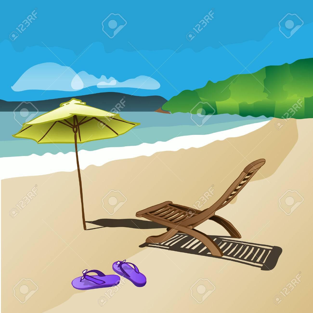 VaguesChaise De D'été LongueSandales Et PlageSoleilSableLes Parasol Coloré Concept Vacances Résumé wOnkX8ZN0P