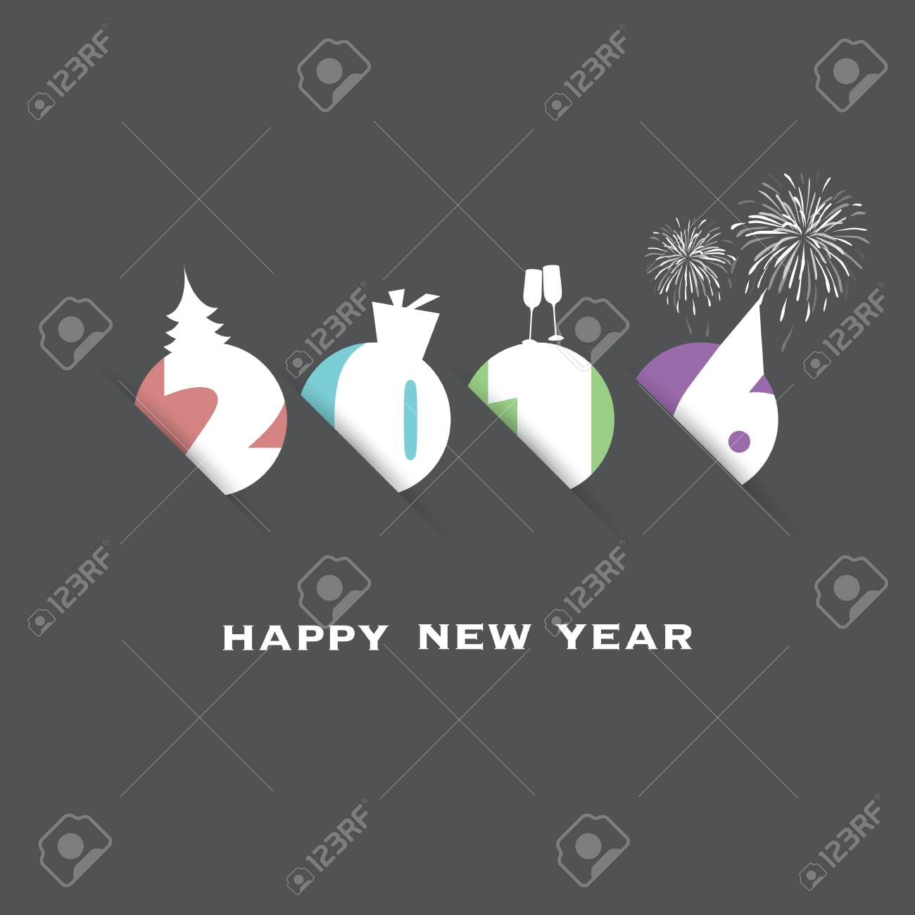 simple new year card cover or background design template with holiday icons 2016 stock