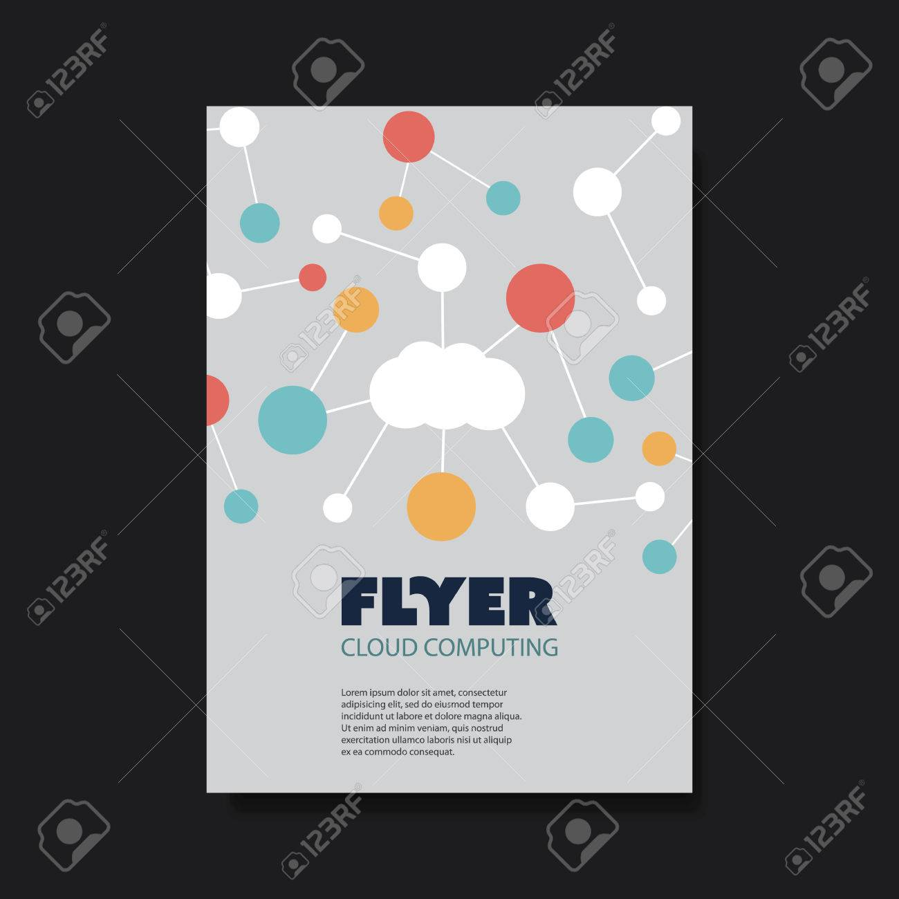 Flyer Of Cover Design Template With Cloud Computing, Networks ...