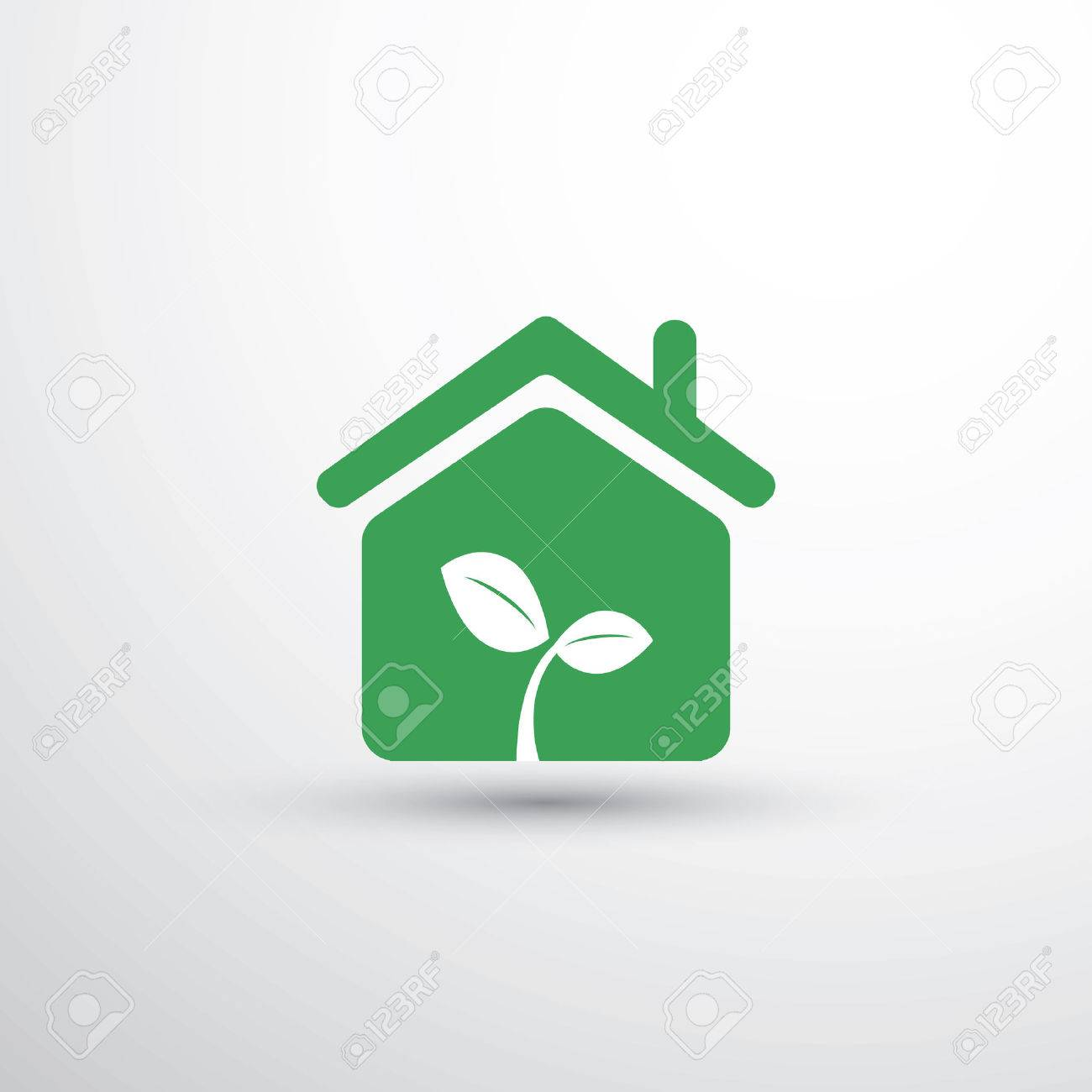 Eco house home concept design house icon with leaves stock vector 55397729