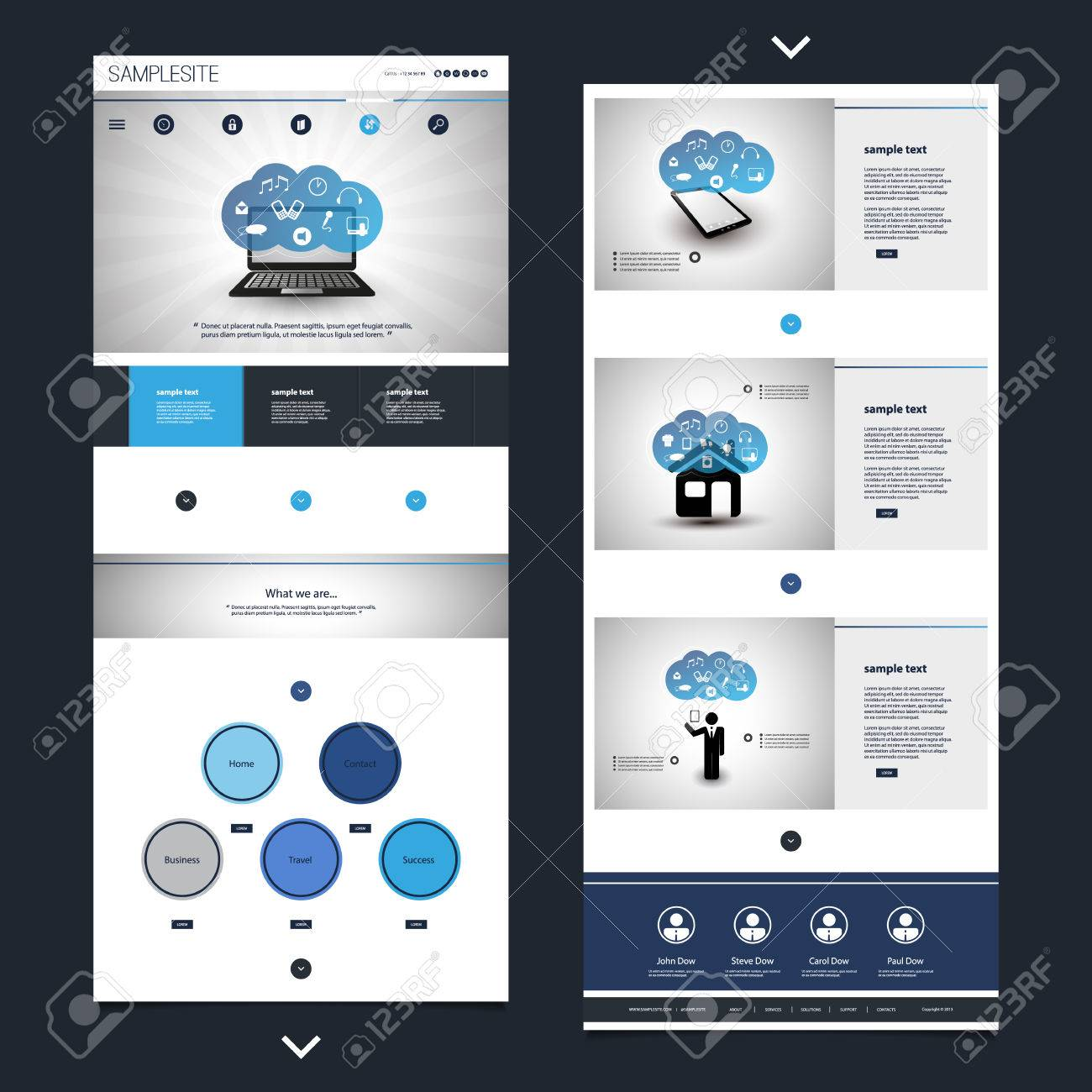 One Page Website Template With Cloud Computing Theme, Header ...