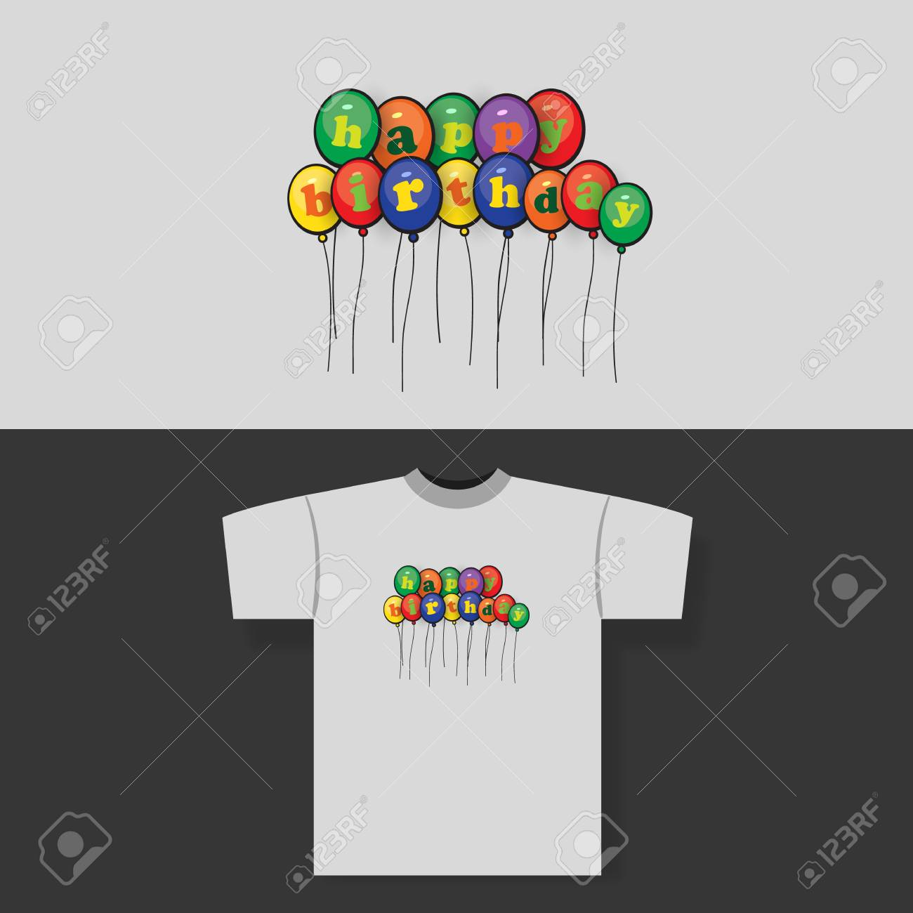 e72a3263 T-shirt Print Design Concept with Colorful Happy Birthday Balloons Stock  Vector - 58738643