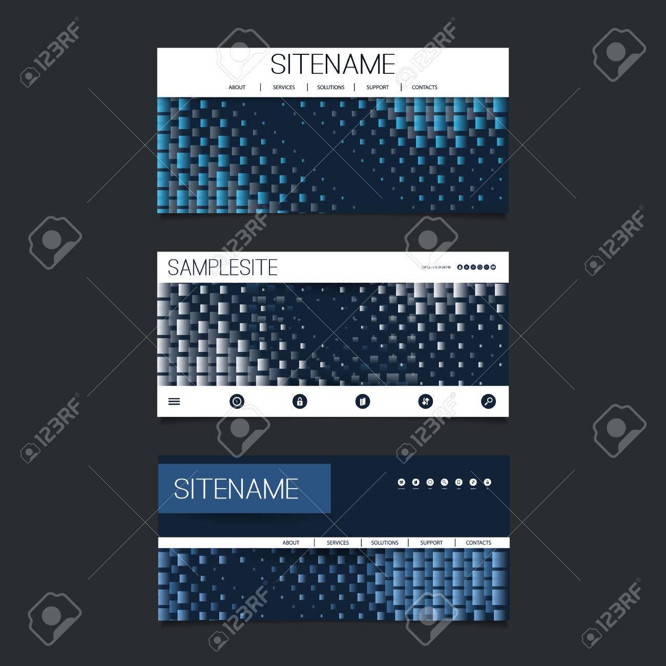 Web Design Elements - Header Design Set with Dark Blue Abstract