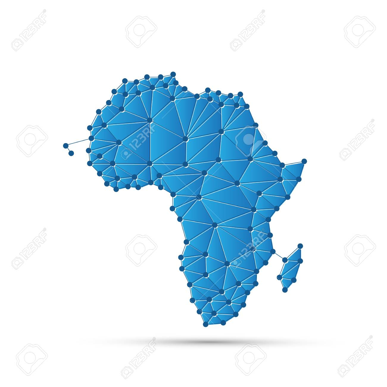 Digital Map Of Africa Abstract Polygonal Map Of Africa With Digital Network Connections