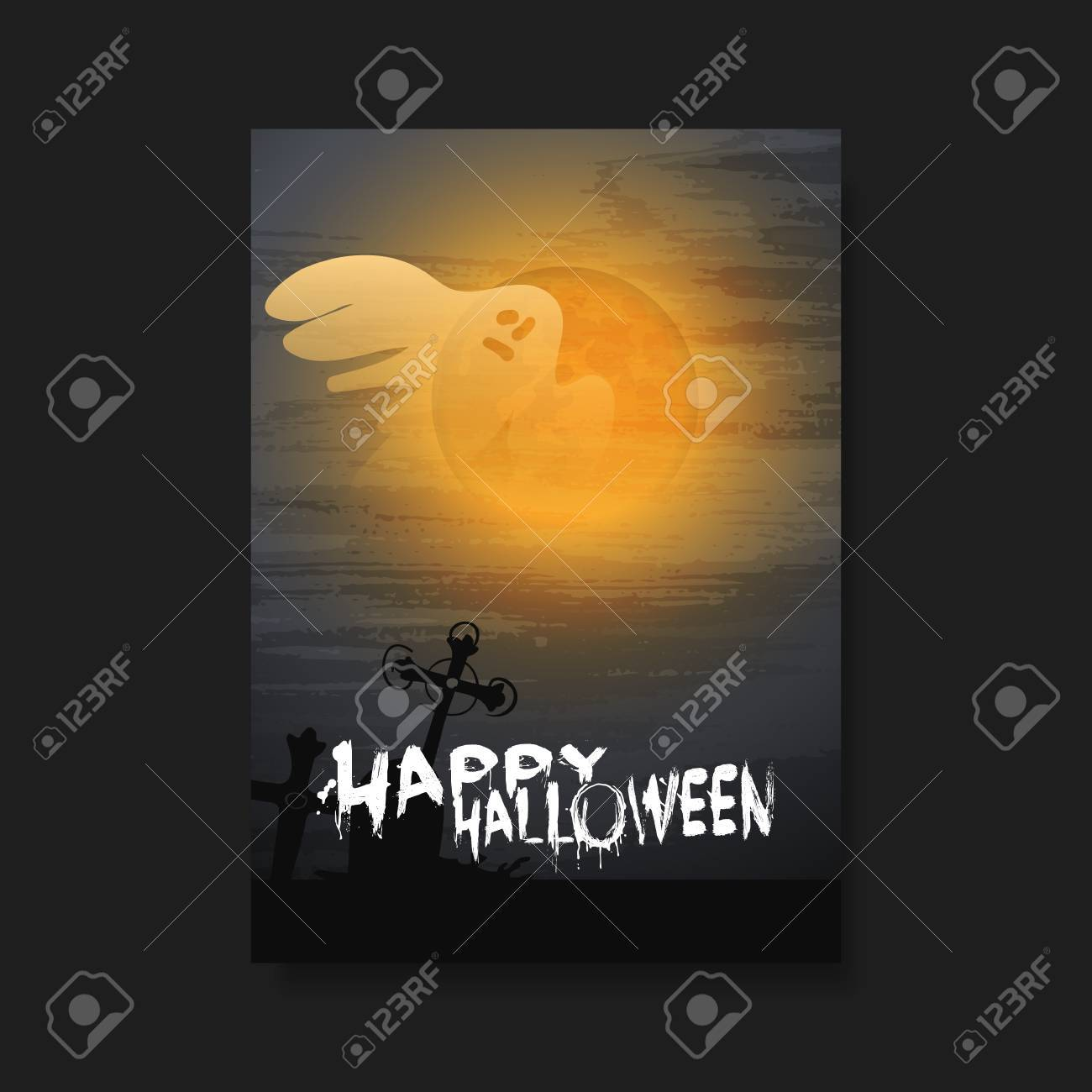 happy halloween card, flyer or cover template - flying ghost