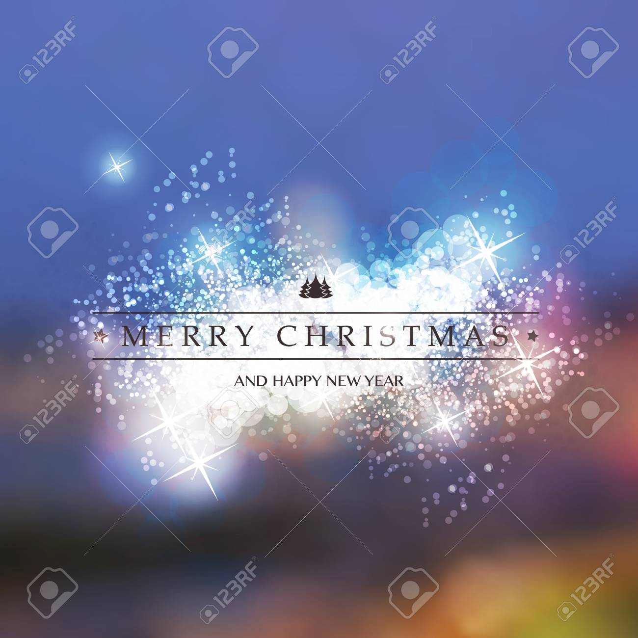 Colorful Happy Holidays Merry Christmas And New Year Greeting