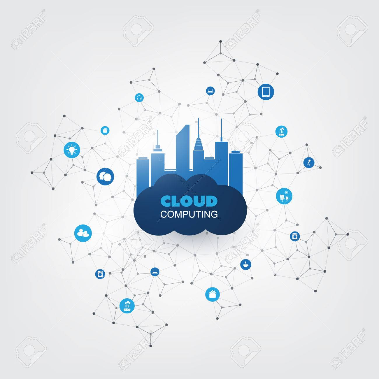 Cloud Computing Design Concept with Icons - Digital Network Connections, Technology Background - 70108242