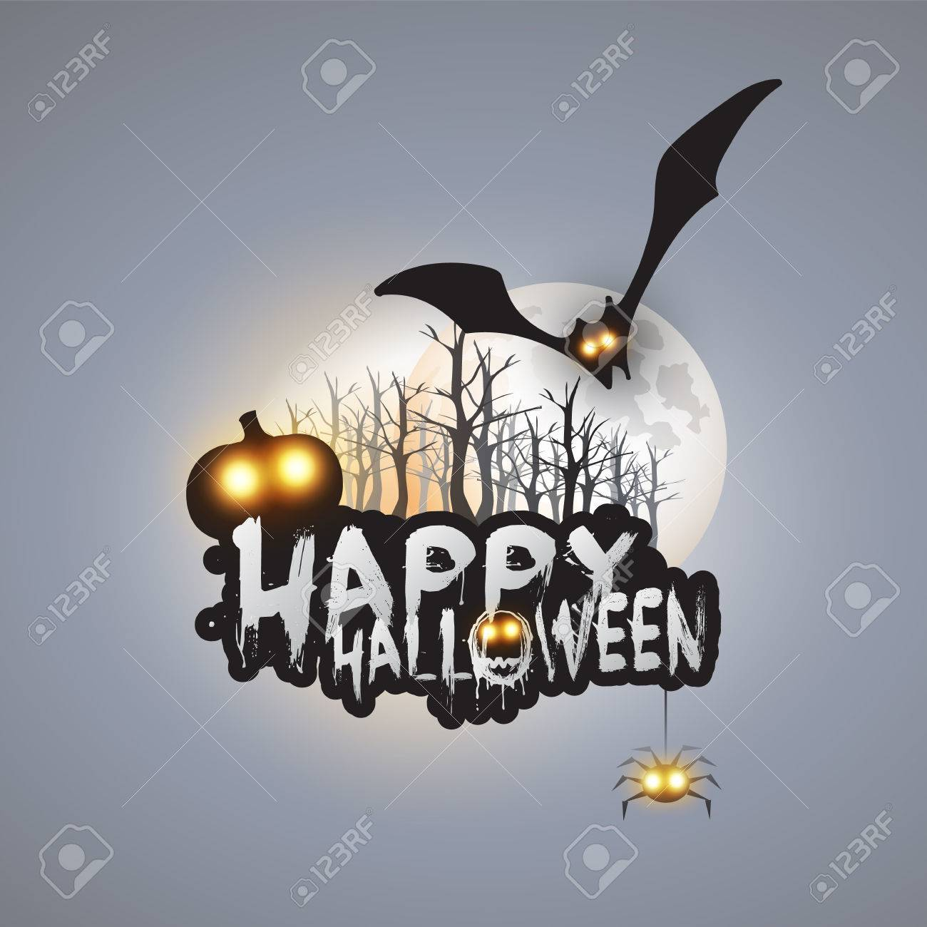 happy halloween card template design flying bat over the autumn
