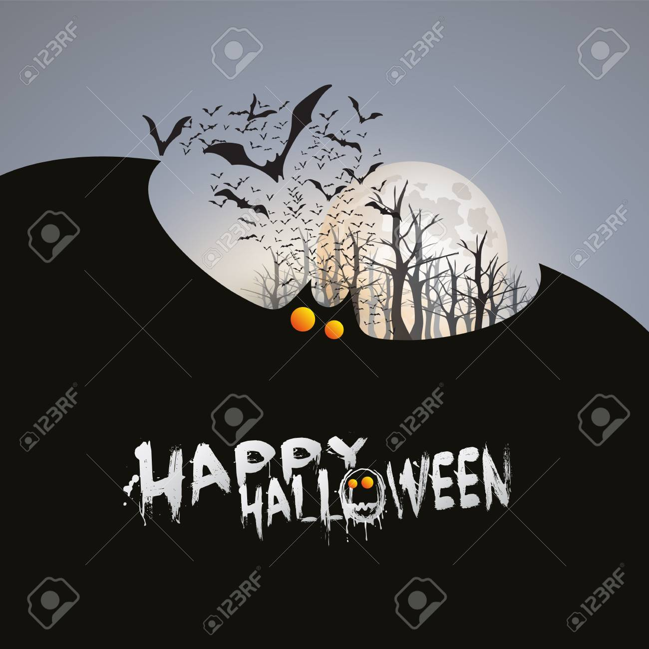 happy halloween card template flying bats over the autumn woods