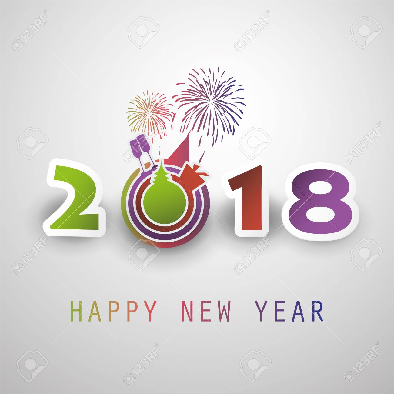 best wishes abstract modern style happy 2018 new year greeting card or background creative