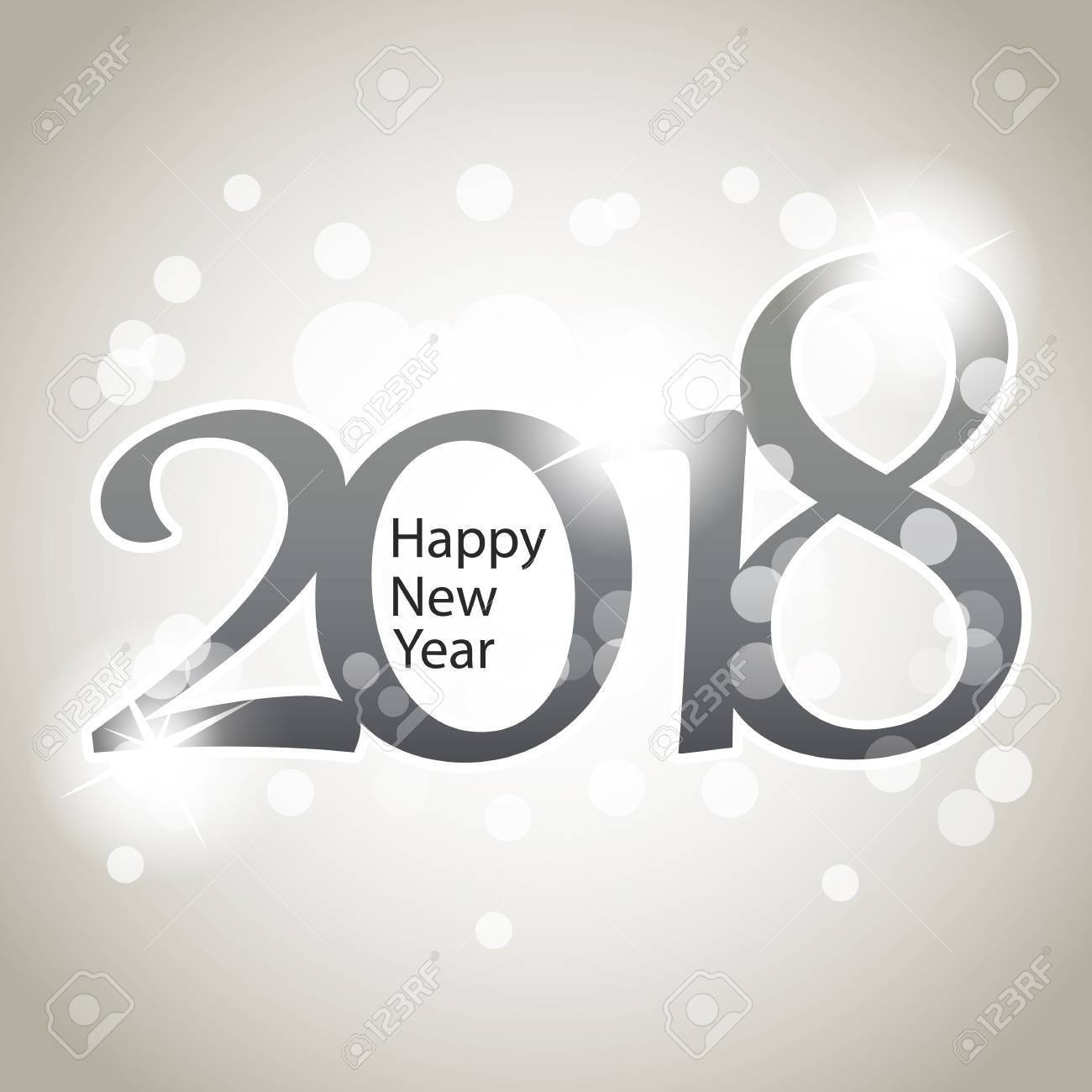 sparkling silver grey 2018 happy new year background design template stock vector 87424773