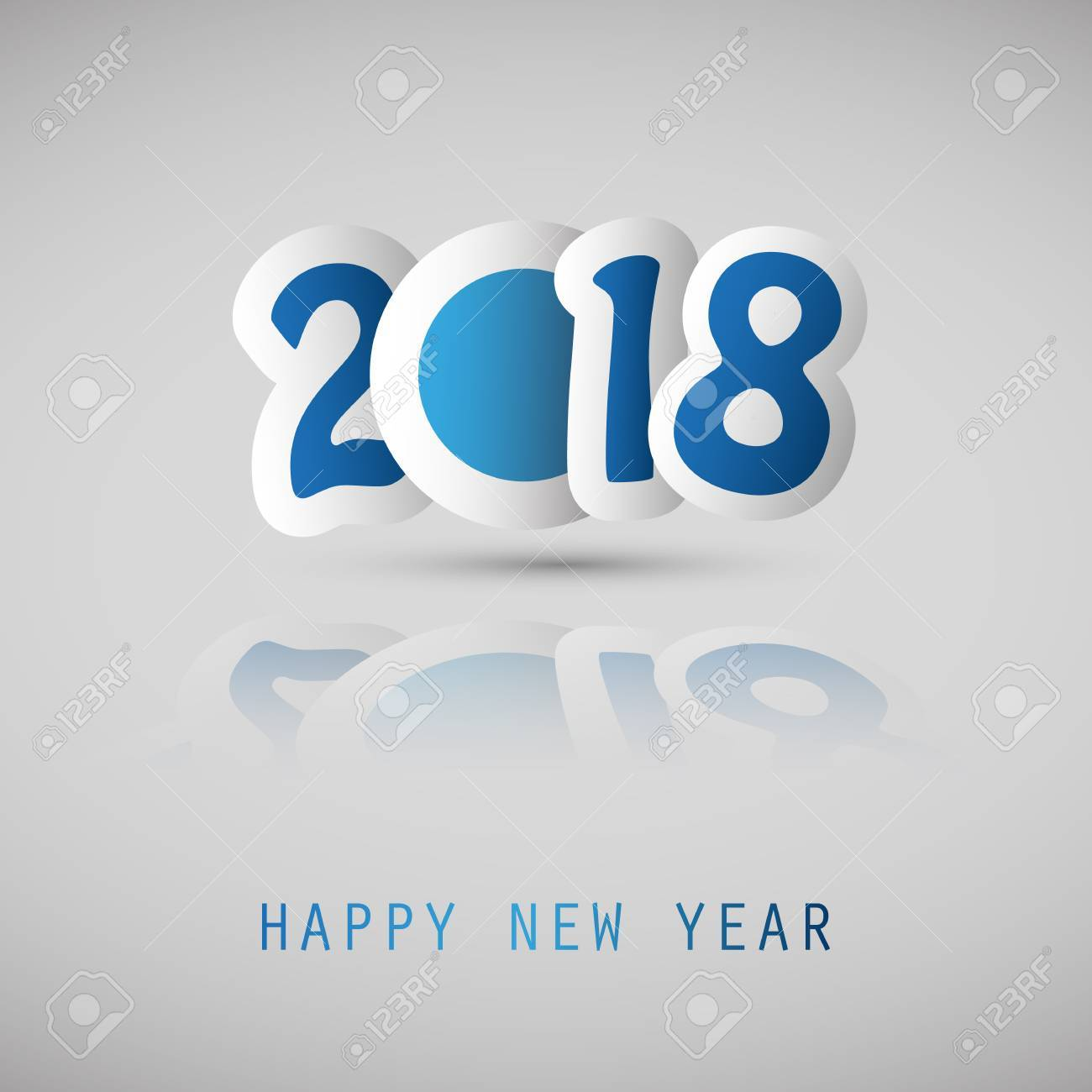 Foto de archivo - Tarjeta de la cubierta de la Feliz Año Nuevo azul y  blanco simple 2018 en un fondo gris. 6c9360abaab7b