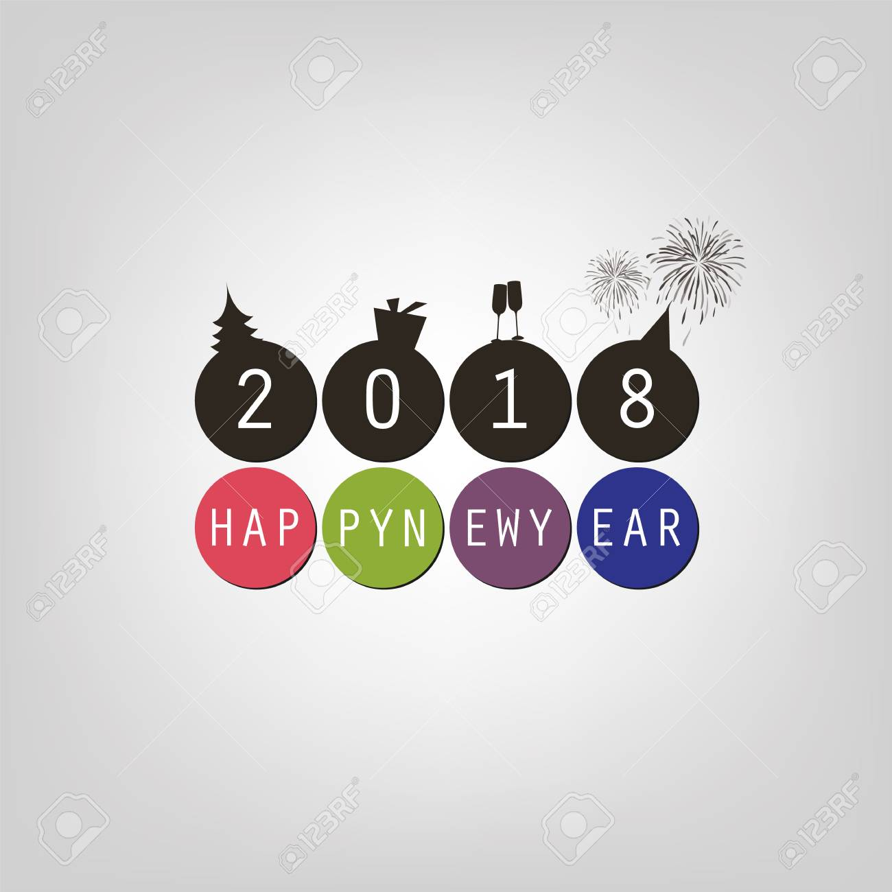 best wishes simple happy new year card or cover design template 2018 stock vector