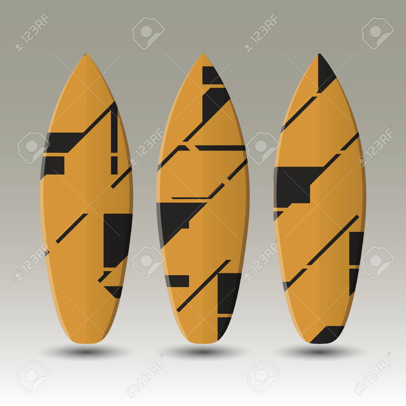 A Vector Surfboards Design With Abstract Colorful Pattern On