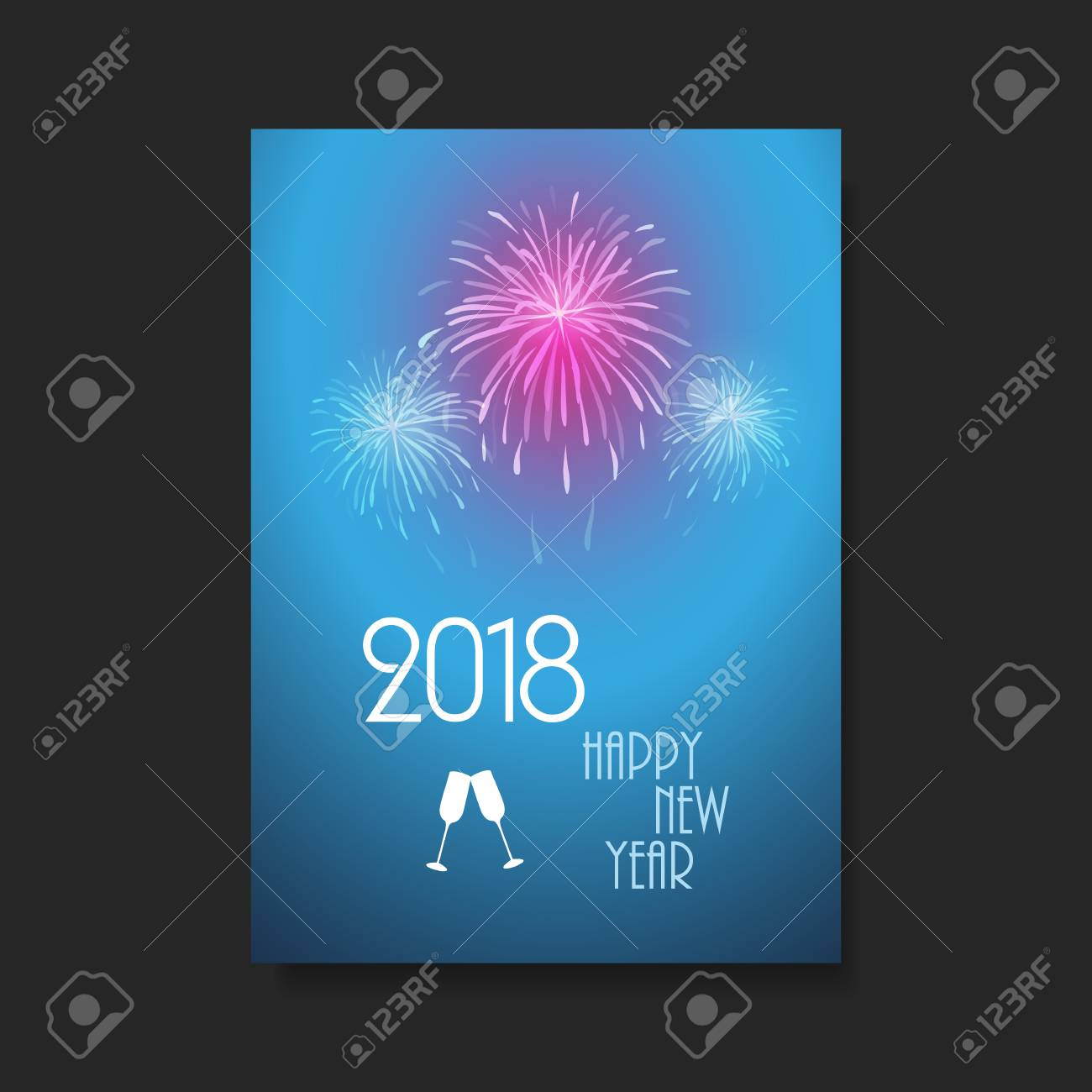 new year card background flyer design with fireworks 2018 stock vector 89607792