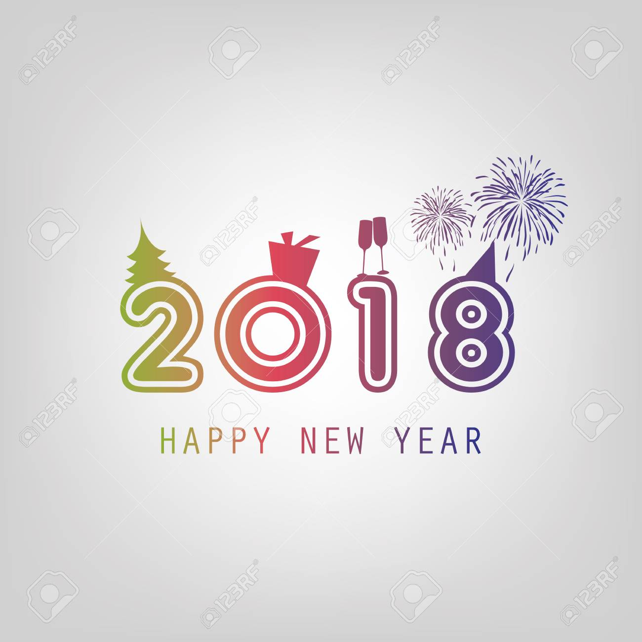 Best Wishes - New Year Card Background Template - 2018 Royalty Free ...