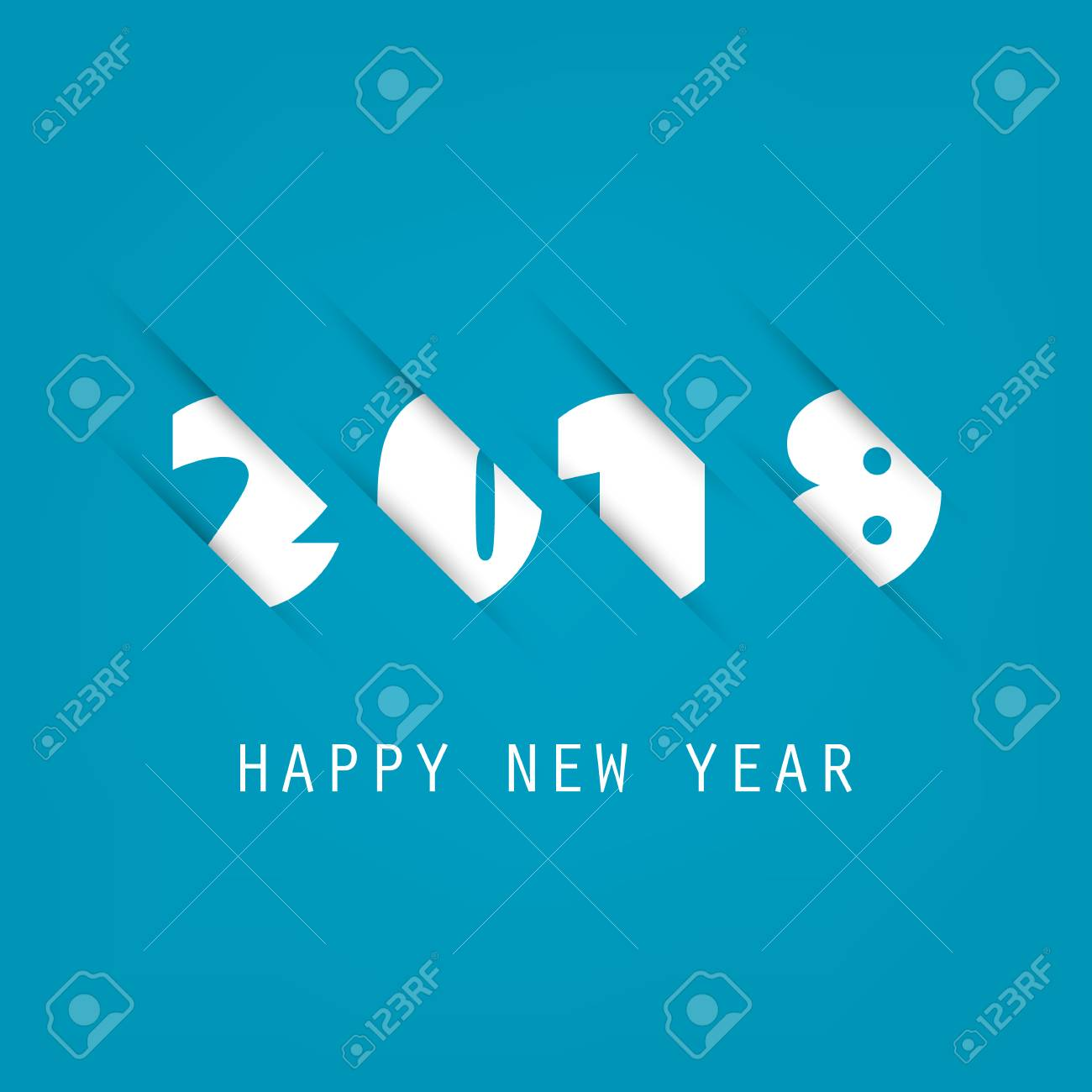 simple blue and white new year card cover or background design template 2018 stock
