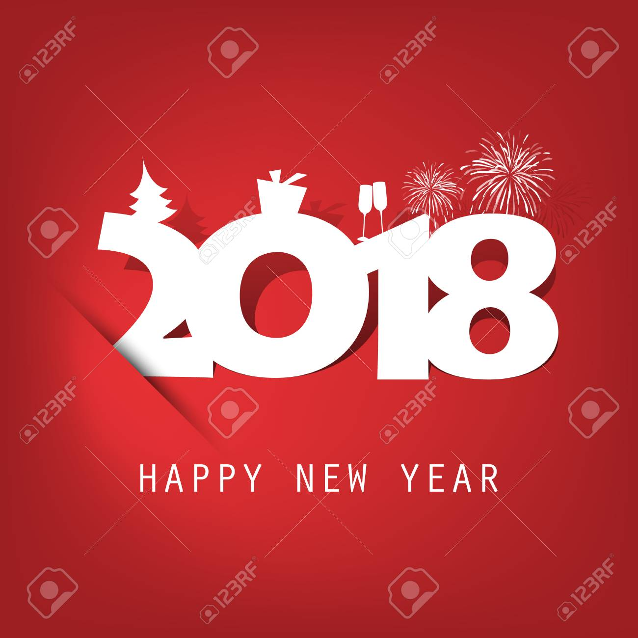 simple red and white new year card cover or background design template with christmas tree