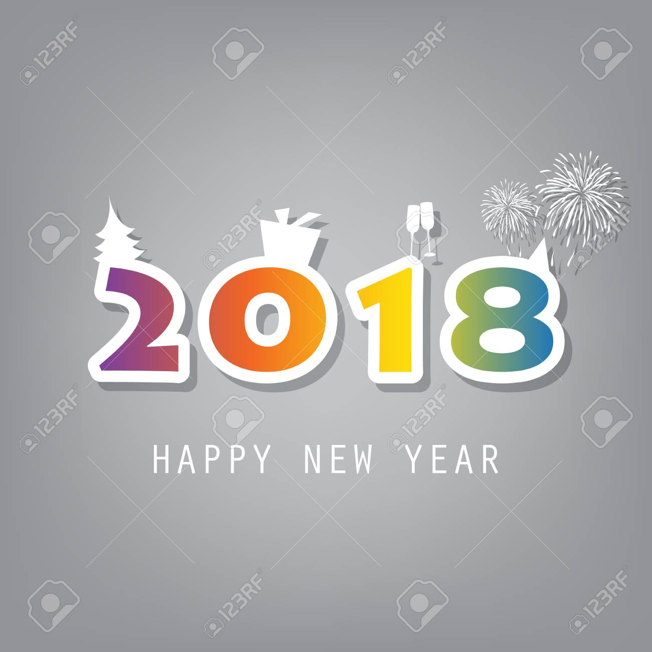 best wishes simple colorful new year card cover or background design template with christmas