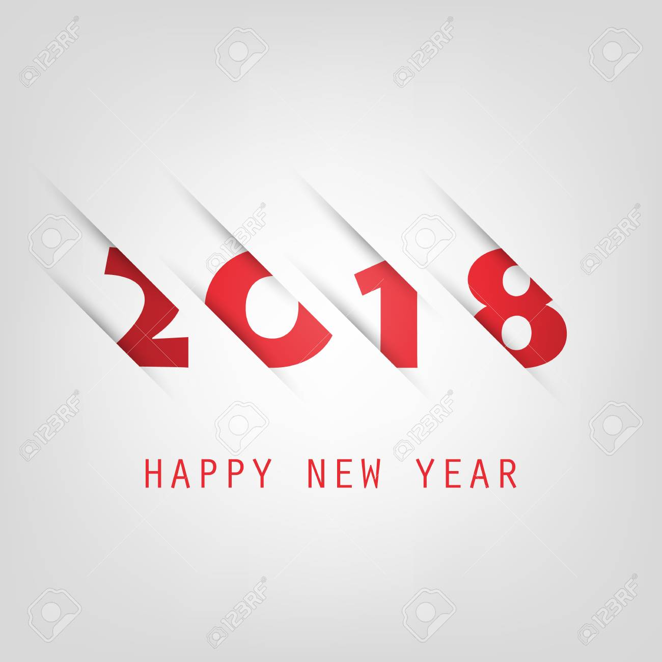 simple red and white new year card cover or background design template 2018 stock