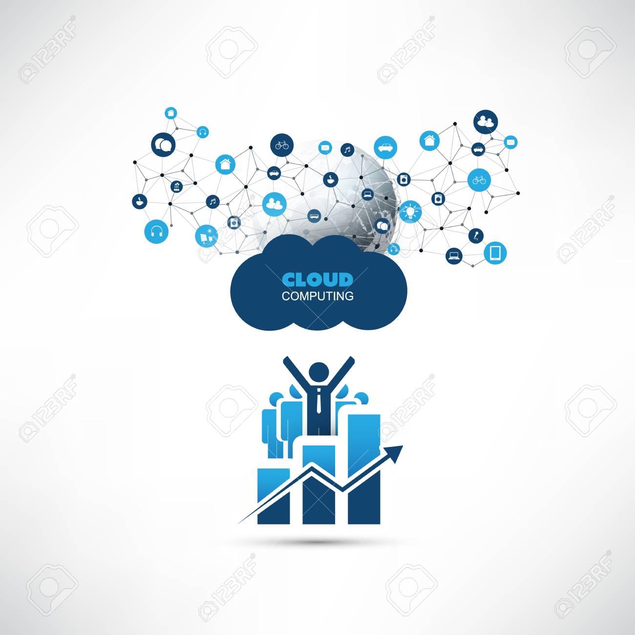 Cloud computing design concept with happy businessmen chart cloud computing design concept with happy businessmen chart and world map online business management gumiabroncs Images