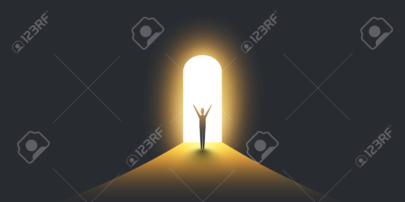New Possibilities, Hope - Business Finding Solution Vector Concept - Businessman Standing in Dark, Symbol of Light at the End of the Tunnel - 109194753