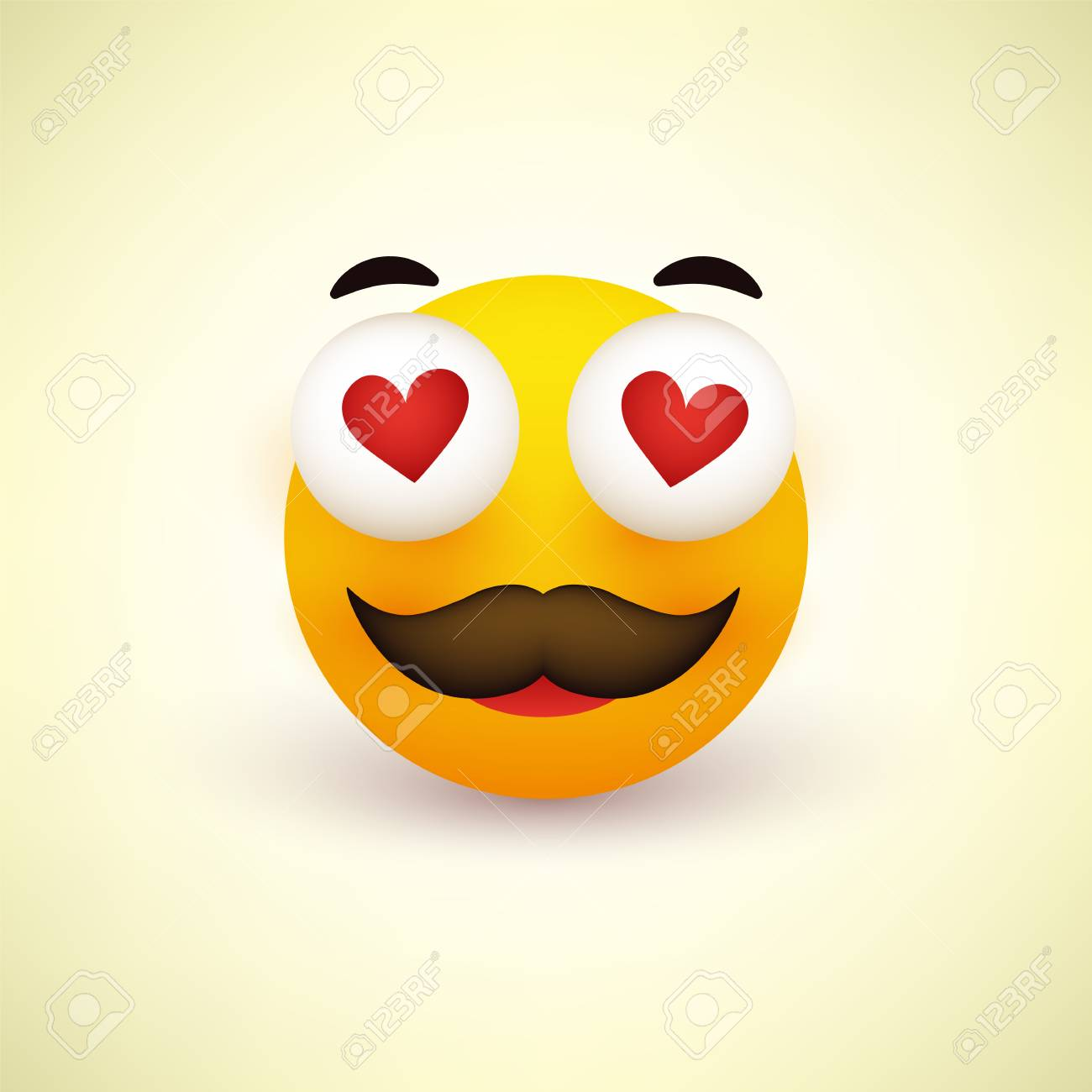 Smiling Face, Emoji, Smiley with Heart Shaped Eyes and Mustache