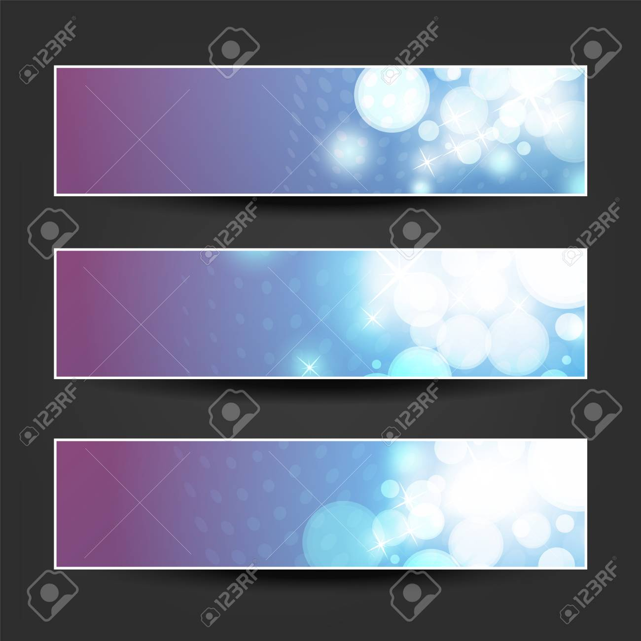 set of blue white and purple horizontal sparkling banner designs